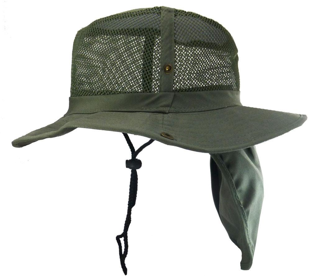 Mesh hunting fishing hiking hat neck sun protection cap for Mesh fishing hats