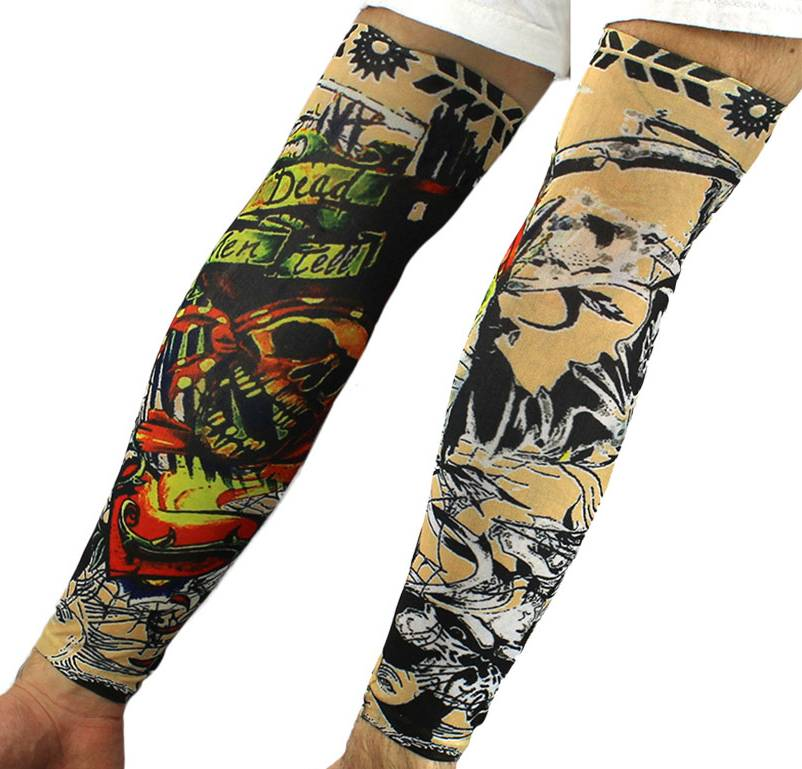 fake tattoo arm sleeves slip on artwork costume stretch