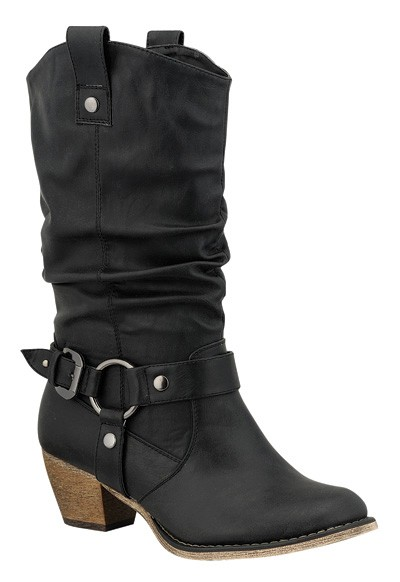 NEW Women Cowboy Western Buckle Harness Mid Calf Mid Heel Slouch Pull-Up Boots