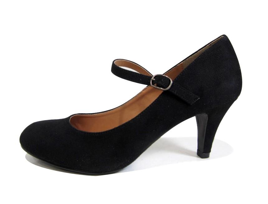 new women micro suede vintage round toe retro mary jane pumps mid heel shoe. Black Bedroom Furniture Sets. Home Design Ideas
