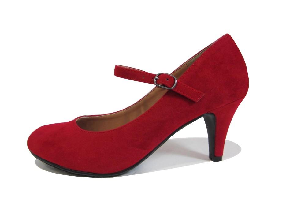 Red Mid Heel Pumps