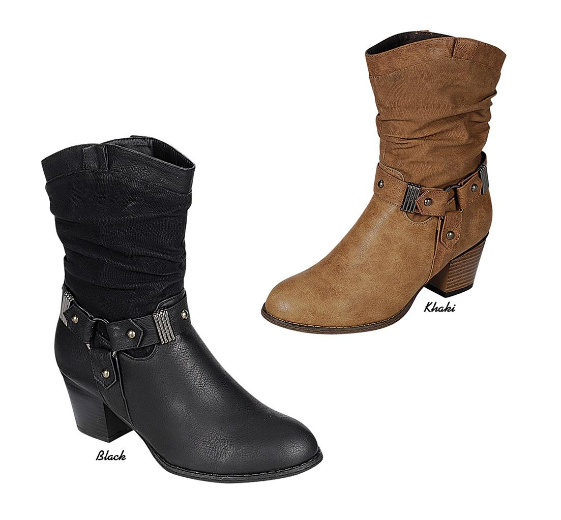new western cowboy harness mid stacked heel