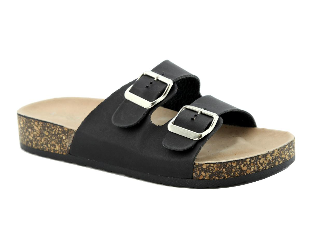 Beautiful Blue Inc Woman Womens Black Double Strap Sling Back Cleat Sole Sandals