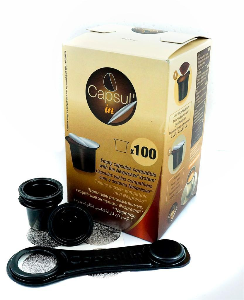 Capsulin Nespresso Coffee Capsule Compatible 100 Empty