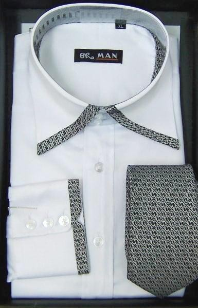 Mens Blue Purple White Formal Dress Shirt Cufflinks Tie