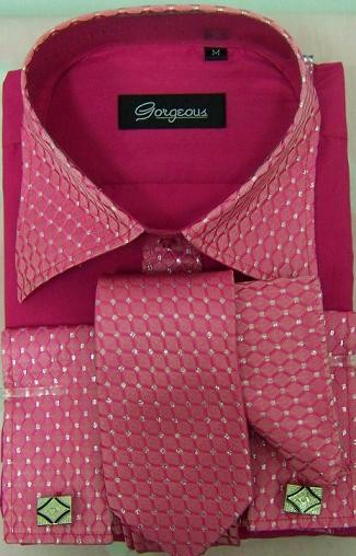 Mens-white-black-pink-burgundy-Formal-Dress-Shirt-cufflink-Tie-Set-wedding-shirt