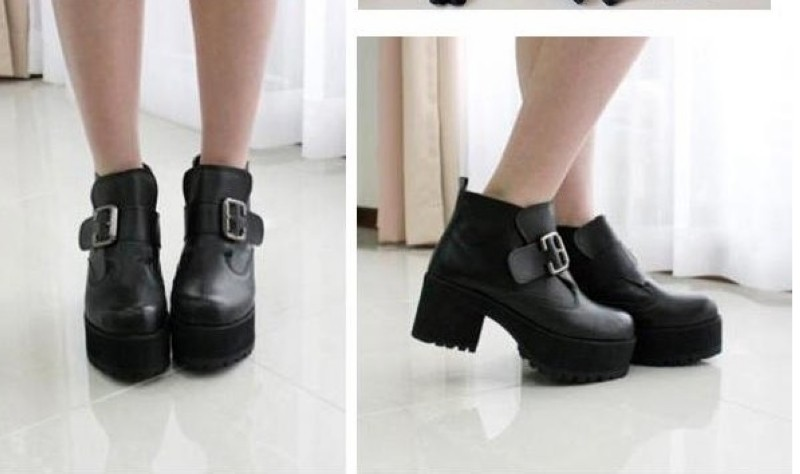 Hot Sale Punk Rock Buckle Strap Chunky Heels Platform womens Ankle ...