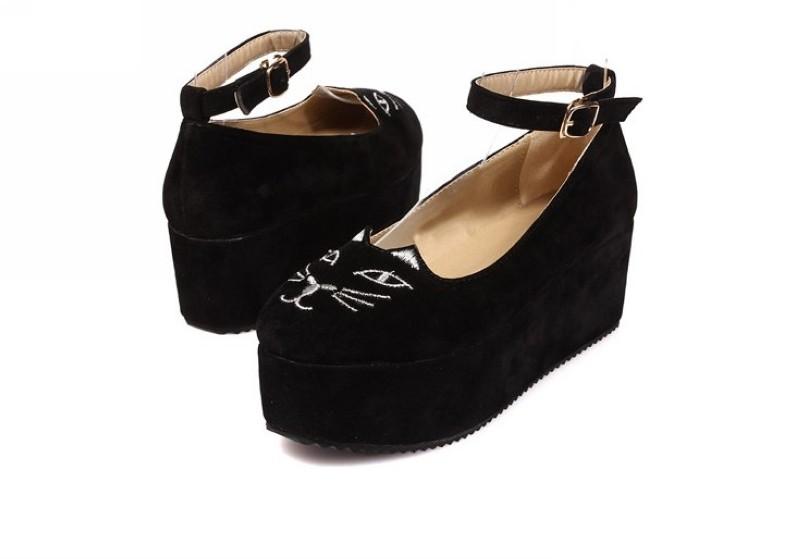 womens toe cat high platform flat oxford casual