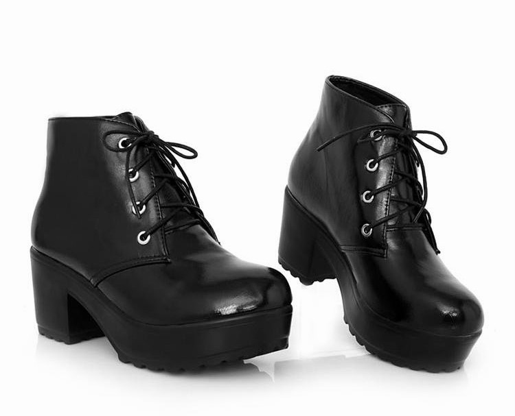 new womens rock black white lace up platform heels