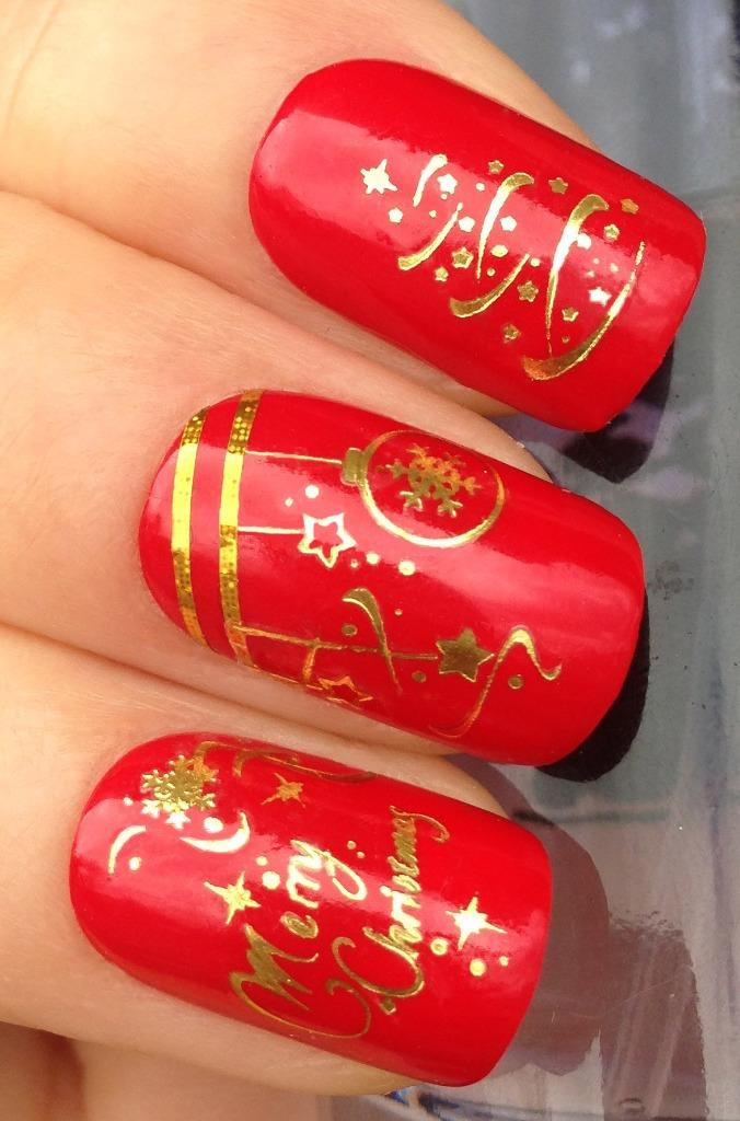 CHRISTMAS NAIL ART STICKERS DECALS WATER TRANSFERS REINDEER ...