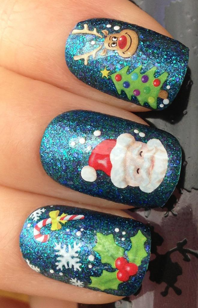 Christmas Nail Art Stickers Decals Water Transfers Reindeer