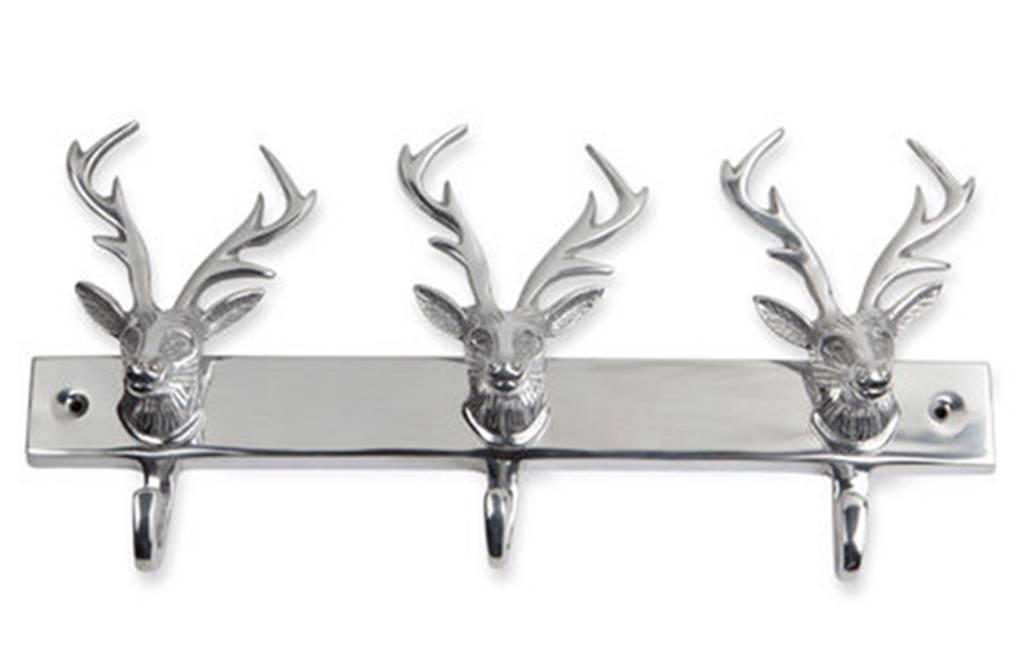 Silver Solid Aluminum 14 Metal Stag Head Deer Buck Triple
