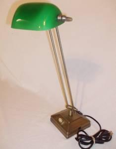 adjustable emerald green bankers desk lamp with outlet phone jack. Black Bedroom Furniture Sets. Home Design Ideas