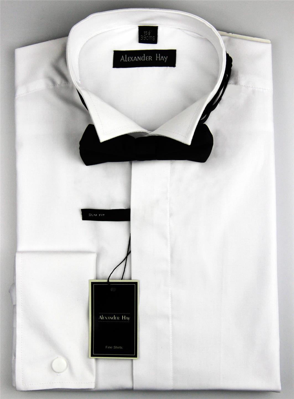 Alexander Hay Mens White Evening Wing Collar Dress Shirt