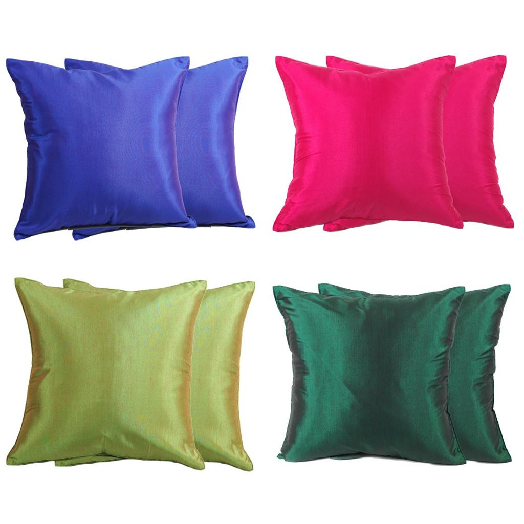 Solid Decorative Throw Pillows : 2x THAI SILK THROW DECORATIVE PILLOW CASE COVERS CUSHION SOLID COLOR 16