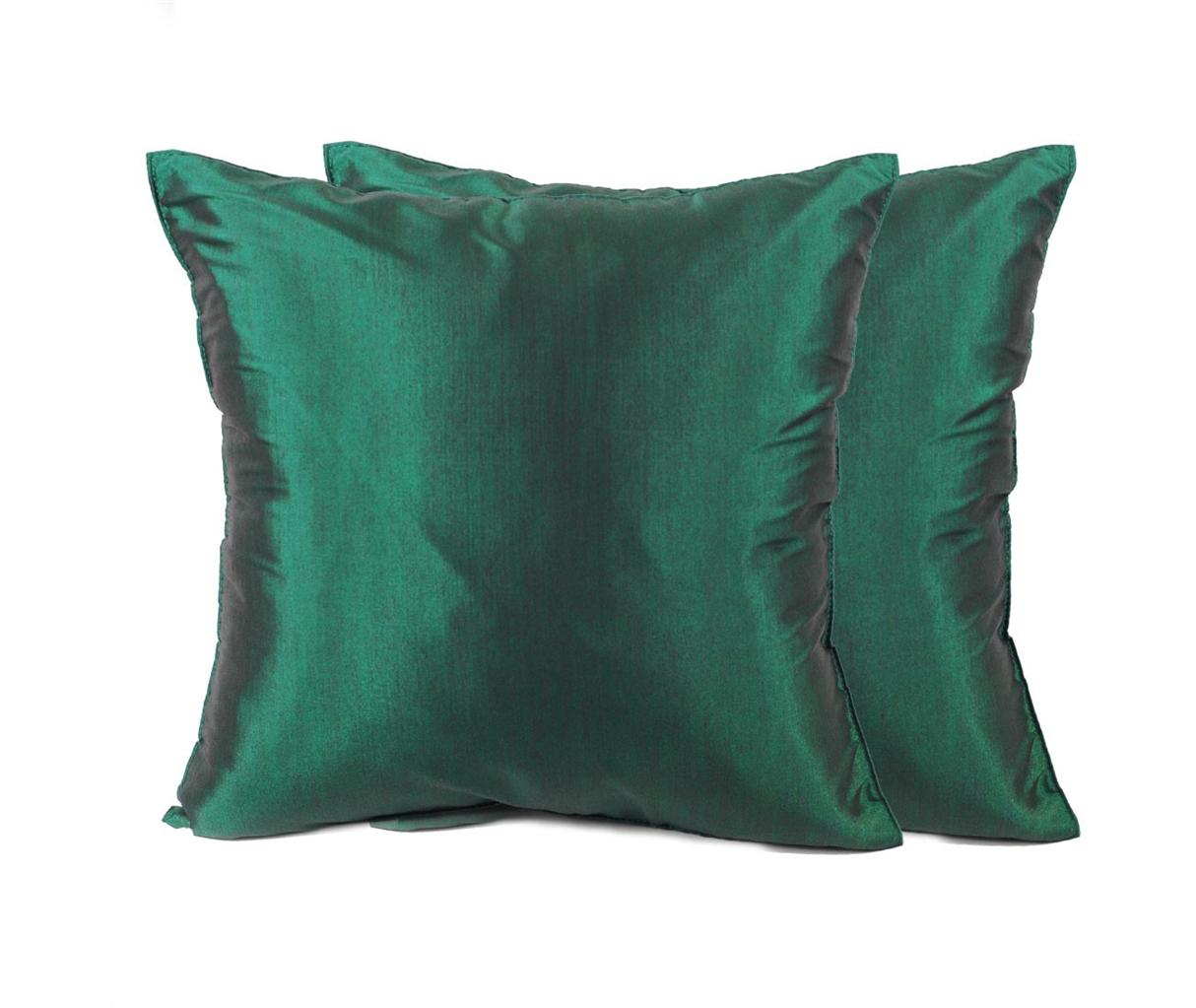 Silk Decorative Pillow Covers : 2x THAI SILK THROW DECORATIVE PILLOW CASE COVERS CUSHION SOLID COLOR 16