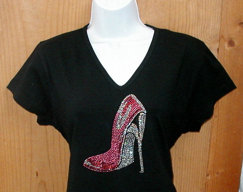 Embellished-Rhinestone-Shirts-SEXY-HOT-PINK-HIGH-HEELED-SHOE