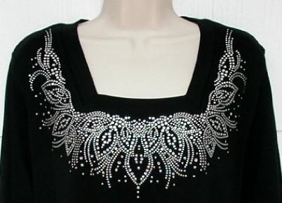Rhinestone Embellished Dressy Tee Shirts Lacy Silver Studs Rhinestones