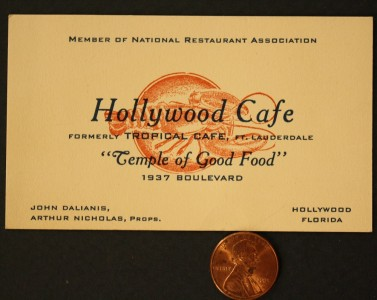 1940s wwii era florida hollywood cafe business card for Business cards fort lauderdale