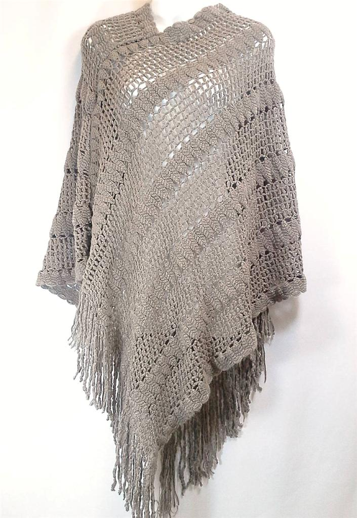 Knitting Pattern For Long Cape : [US Seller] Luxury Tassel Fringe Knit Long Poncho Cape Sweater Shawl Top Ones...