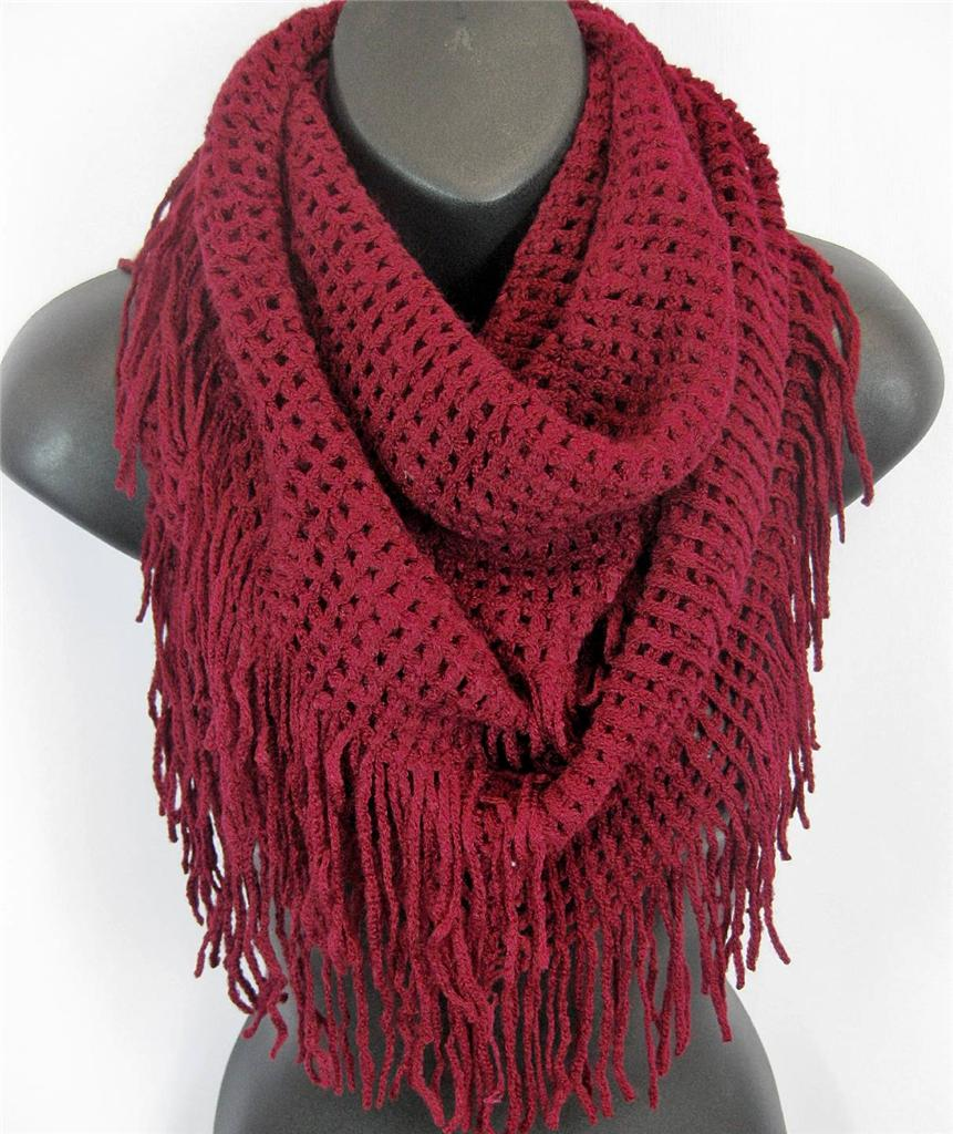 Free Crochet Pattern For Infinity Scarf With Fringe : US Seller- Winter Warm Fringe Crochet Knit Infinity Scarf ...