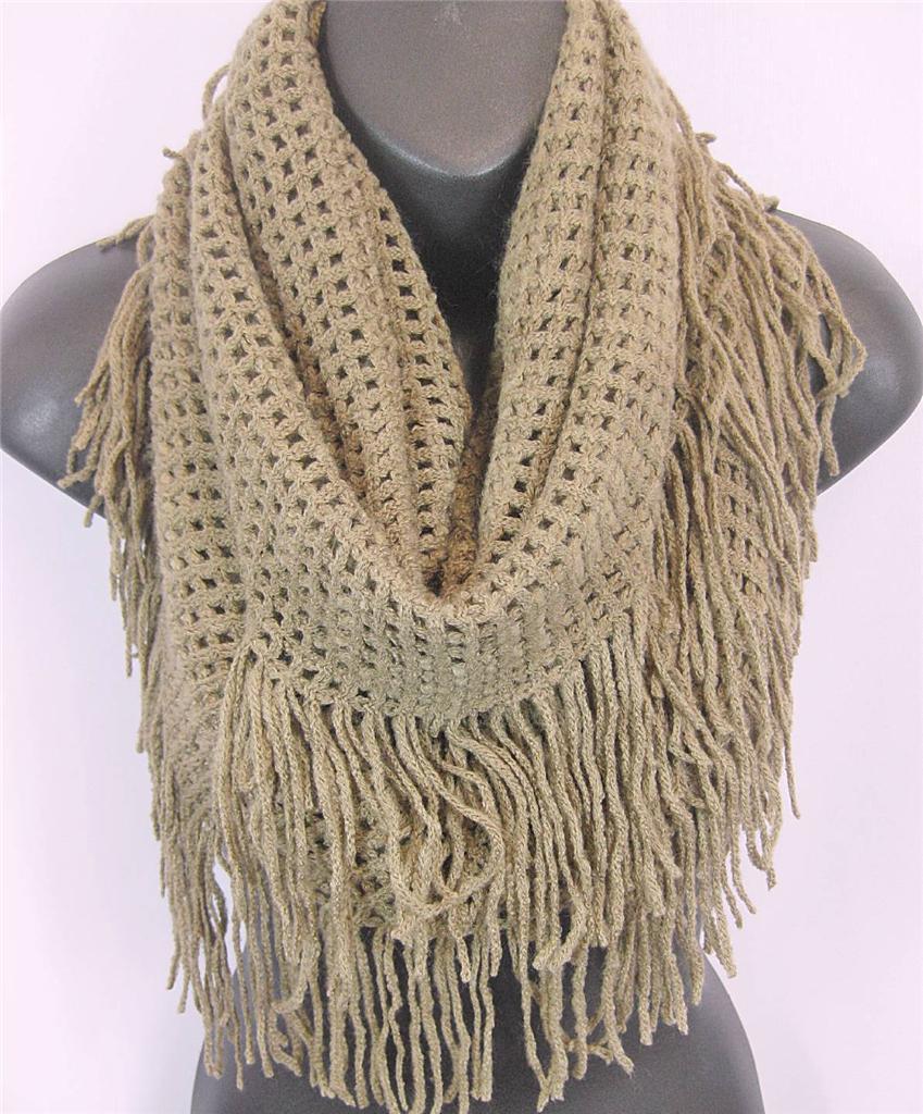 US Seller- Winter Warm Fringe Crochet Knit Infinity Scarf ...