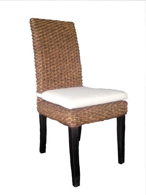 Wicker Rattan Dining Chair Indoor Outdoor Water Hyacinth