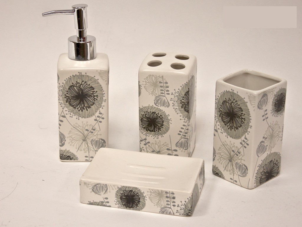 4pc ceramic bathroom accessory set soap dish dispenser tumbler toothbrush holder - Bathroom soap dish sets ...