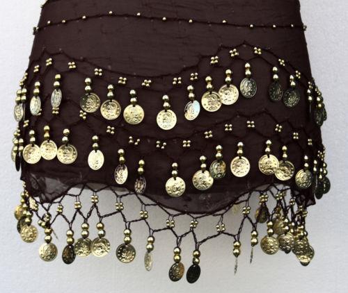 3 Rows Gold Coin Belly Dance Hip Scarf Wrap (Belt Dancer Skirt Costume)