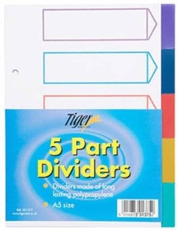 File Dividers Index Tabbed Subject Colours Multi Punched Ring Binder