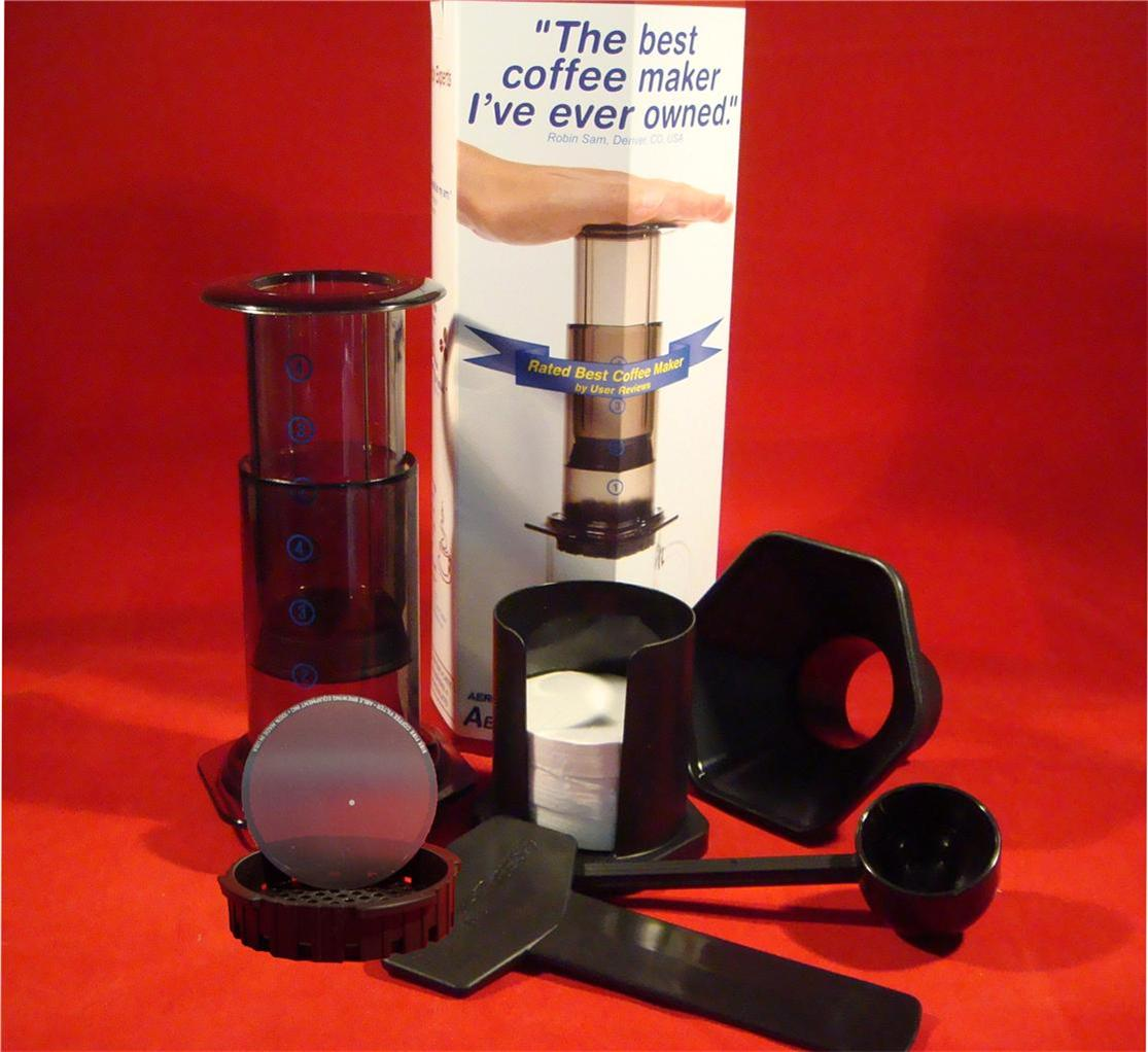 Aerobie Aeropress Coffee Maker Instructions : Aerobie Aeropress Manual Coffee Maker 350 Filters AND Able Fine S Steel Disk eBay