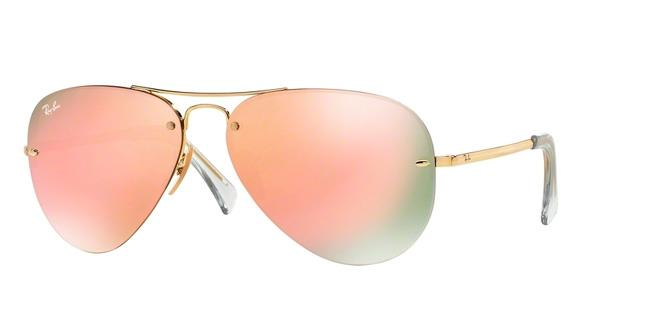 ray ban unisex  NEW RAY-BAN UNISEX RB 3449 001-2Y GOLD MIRROR PINK BROWN 100%UV ...