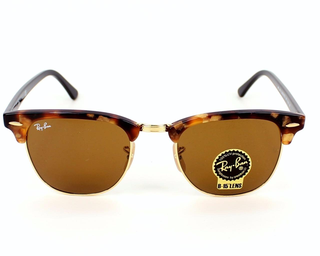 white clubmaster ray ban  RAY BAN NEW CLUBMASTER RB3016-1160 SPOTTED BROWN HAVANA BROWN 100 ...