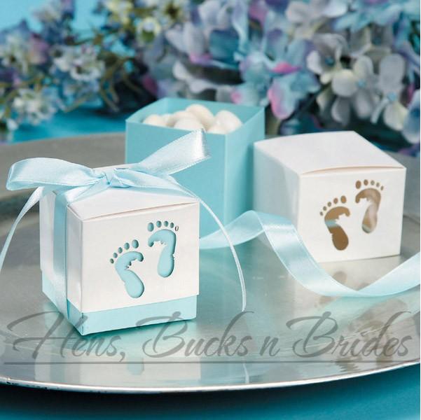 Blue Baby Shower Favor Boxes : Pk baby shower boy blue footprint favour box decorations