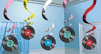 Disco-or-Rock-and-Roll-Theme-Party-Ceiling-Swirls-Hanging-Records-Decorations-x5