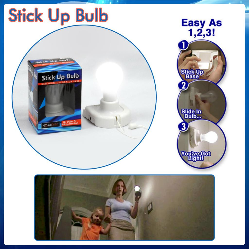 Wall Light Bulb As Seen On Tv : 2 x INSTA STICK UP BULB - NO WIRES NEEDED - AS SEEN ON TV - 24HR SEND OUT eBay