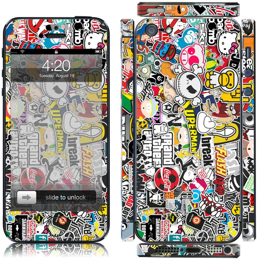 Sticker-Bomb-7-Full-Body-Decal-Vinyl-Skin-Cover-Sticker-Kit-case-for-Iphone-5-5s