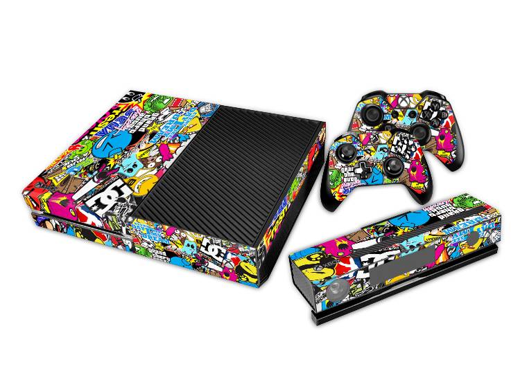 sticker bomb decal vinyl skin kit cover for xbox one console 2 remotes kinect ebay. Black Bedroom Furniture Sets. Home Design Ideas