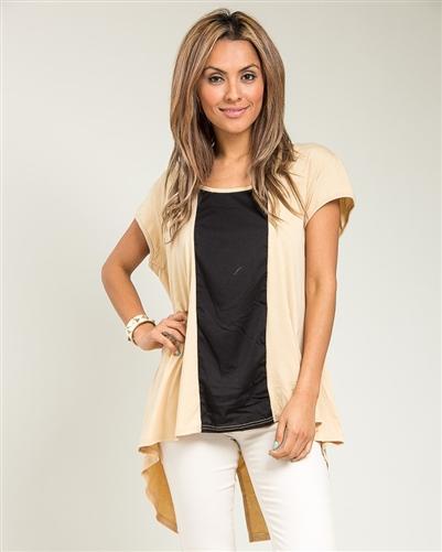 Women's Plus BlouseTop Shirt tunic Color Block Hi-low Chain back  1X 2X 3X