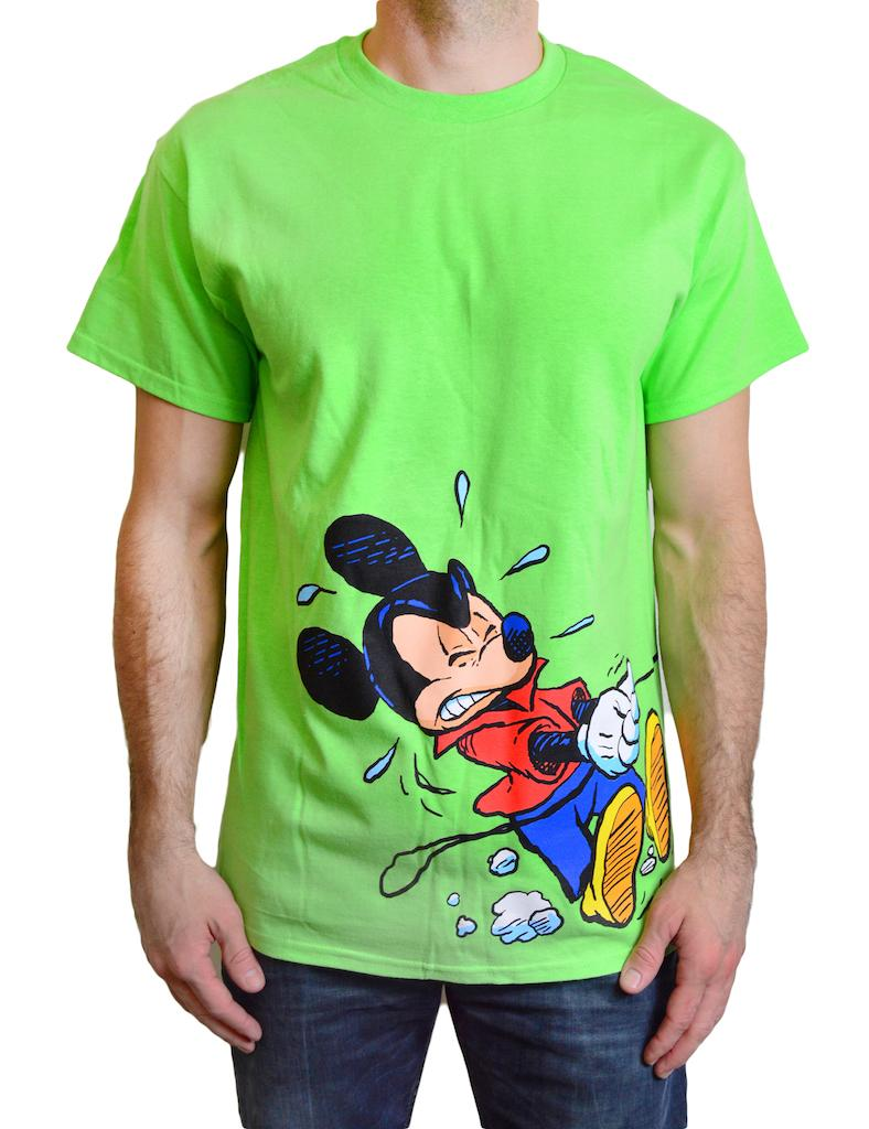 Disney mens t shirt 39 mickey and goofy 39 color light green s for Oversized disney t shirts