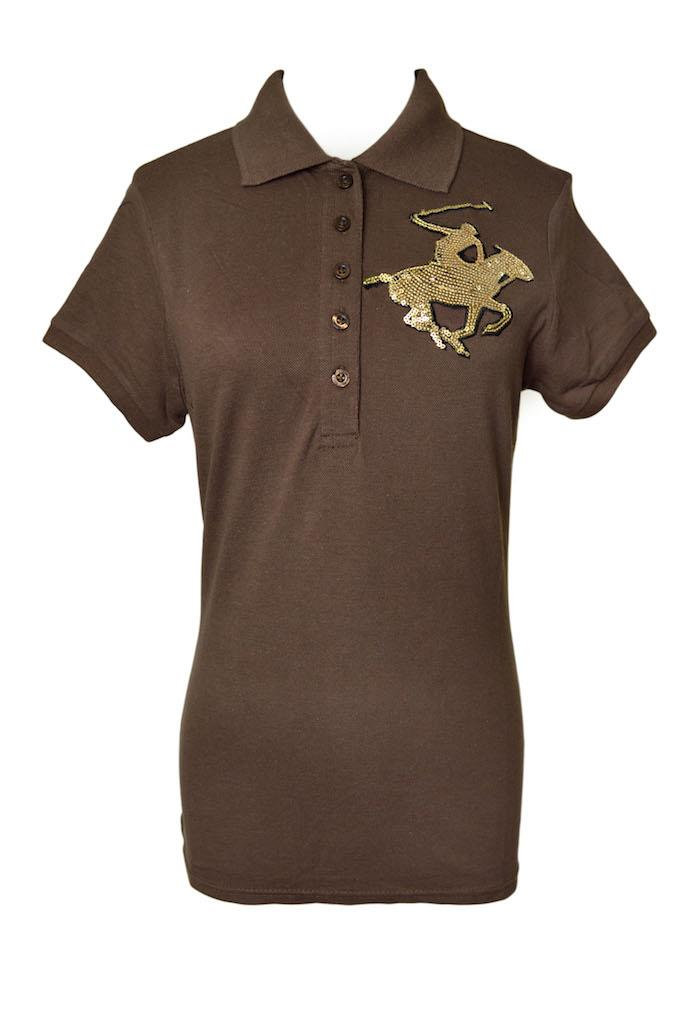 Beverly Hills Polo Club Shirt Cok Gold On Brown Women Size