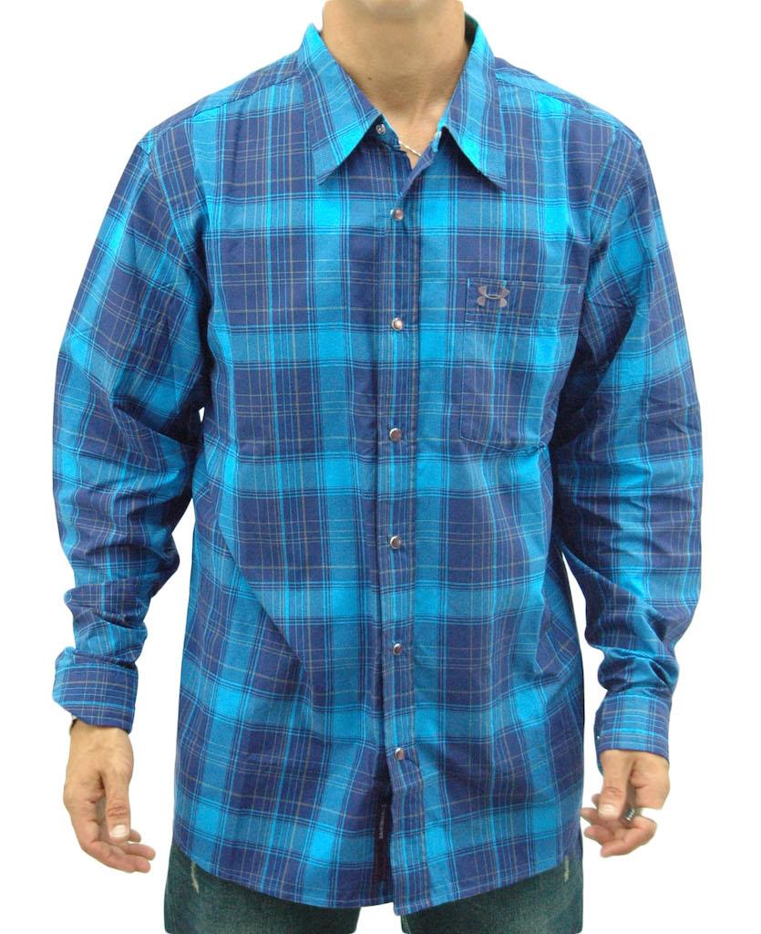 New under armour plaid long sleeve button collar t shirt for Yellow under armour long sleeve shirt