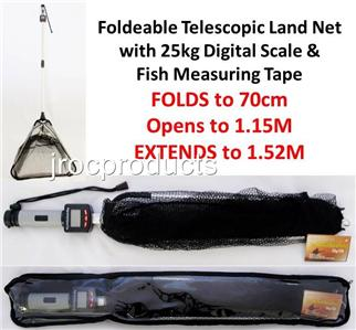 3in1 foldable telescopic fish land net 25kg digital scale for Fish measuring tape
