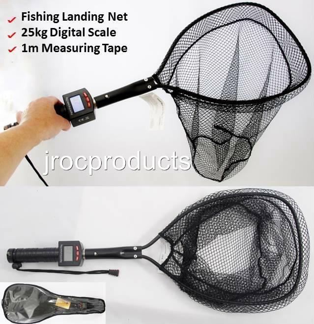 3in1 72cm fish fishing landing net with 25kg digital scale for Fishing landing net