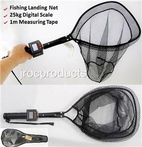 3in1 72cm fish fishing landing net with 25kg digital scale for Fish measuring tape