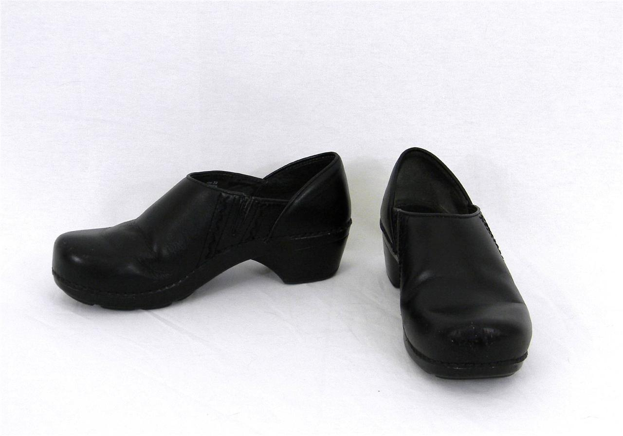 dansko black leather arch support slip on clogs shoes size
