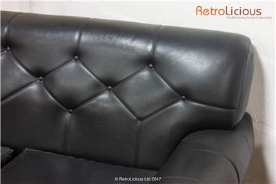 retro black vinyl chaise sofa g plan mid century danish eames era ebay. Black Bedroom Furniture Sets. Home Design Ideas