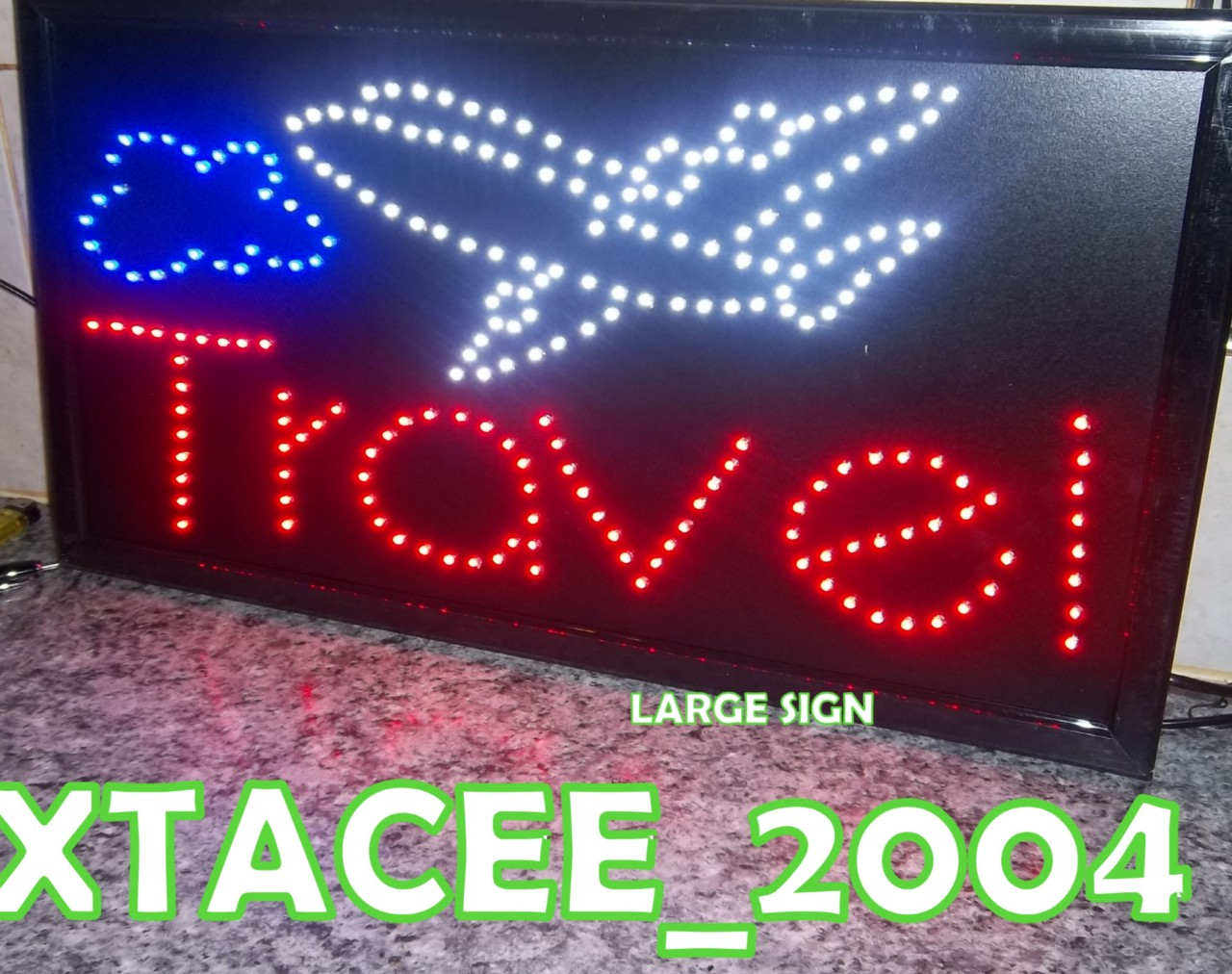 Welcome-Open-Travel-Hotel-FLASHING-shop-window-sign-LARGE-size-21-5-x-13-NEW
