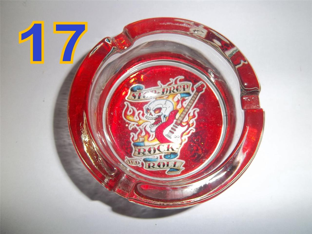 Glass-Ashtray-GIFT-Decorative-Herb-Leaf-Butterflies-Skulls-Thick-Pick-x-1