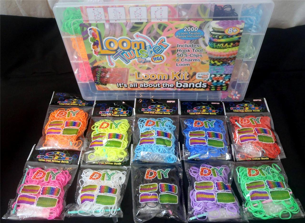 Diy loom tool twister 2000 rubber bands charms bracelet making kit